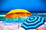 Two umbrellas at beach