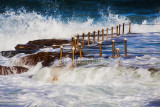 Avalon rockpool in storm