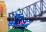 Aussie flag hat and Harbour Bridge backdrop