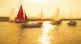 Yachts on waterway at Blakeney, Norfolk