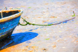 Boat moored in sand