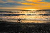 Cyclist on beach