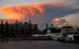 Manly with dramatic red cloud