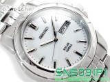 NEW SEIKO SOLAR 100M SNE091 SNE091P1 WHITE DIAL STAINLESS STEEL BAND