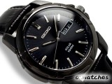 2013 SEIKO SOLAR 100M WR SNE097 SNE097P1 BLACK DIAL LEATHER BAND