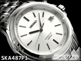 NEW SEIKO KINETIC 100M SKA487P SKA487P1 BLACK FACE SS BAND SILVER DIAL