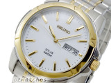SEIKO MEN SOLAR POWER 100M WR SNE094P SNE094P1 TWO TONE GOLD V158 JAPAN MOVEMENT