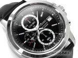 NEW SEIKO CHRONOGRAPH ANALOG QUARTZ SKS445P2 BLACK DIAL BLACK LEATHER BAND