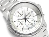 SEIKO CHRONOGRAPH ANALOG QUARTZ 100M SKS441P1 WHITE DIAL STAINLESS STEEL BAND