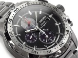 SEIKO SOLAR CHRONOGRAPH ALARM SSC301 SSC301P1 ALL BLACK SS BAND