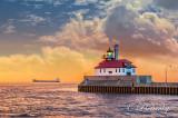 ** 95.1 - Duluth Harbor:  Lighthouse With Ship Marietje Marsilla