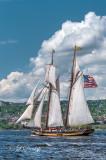 TS-32: Topsail Schooner Pride Of Baltimore II, Vertical With Clouds