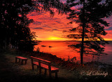 75.5 - Lake Superior Red Sunrise With Bench