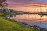 * 136.2 - Bayfield Harbor At Dawn With Sailboats
