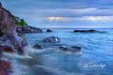 70.1 - Temperance River Park Rocks, Blue Dawn On Lake Superior