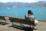 Looking across the harbour towards the Solstice in Akaroa.