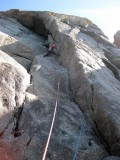 2013 Martina climbing at chair ladder (Dioces pitch 1)