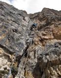 Sass Pordoi Gross-Monoli route, martina climbs pitch 1
