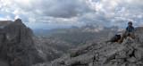Martina on Piz da lech looking across the northern Sella mountains