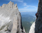 Martina flying high on the Vajolet towers, Dolomites Italy