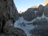 7am on the brochette central via ferrata on the way to the Basso