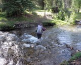 Pecos Wilderness NM. River crossing to start the backpack