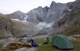 Camp on the alluvial plain below Vignamele's north face