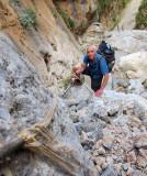 Aradena gorge- descending down a section of 'via ferrata'