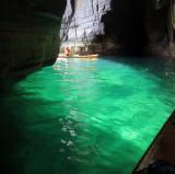 Aug 16 Dunbeath coastal tunnel and cave with sun