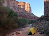 Oct 16 Utah Silver Falls-Choprock Loop: We crossed the Escalante River and camped in Harris Wash