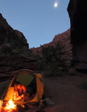 Oct 16 Utah Wolverine-Little Death Hollow:Camp in LDH with moon above