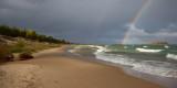 Lake Michigan Beach and Rainbow