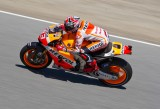 Marquez  Speeding up the hill to the Corkscrew