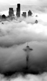Sea of Fog or Space Needle Hidden in Fog and Seattle Skyline 354