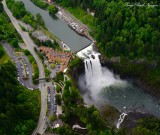 Snoqualmie Falls, Salish Lodge, PSE powerhouse, Observation Point, Snoqualmie River,  WA