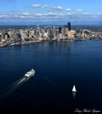 Summer in Seattle, Ferry and Sailboat, Elliott Bay, Washington