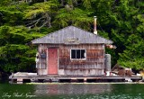 Floating cabin, Alma Russell Island,  Vancouver Island, BC, Canada