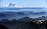 Mt Rainier, Mount St Helens, hazy Cascade Mountains, Washington