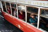 passengers on tram 7, Lisbon, Portugal