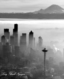 Space Needle, Foggy Seattle, Mount Rainier, Washington