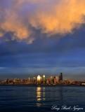 Seattle Skyline, Golden Cloud, Elliott Bay, Washington