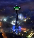 Space Needle with Seahawks Green and Blue Color, 12th Flag, Pacific Science Center, Seattle