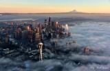 Start of Golden Hour on Seattle, Shrouding in Fog, Mount Rainier. Lake Washington at 5:00pm