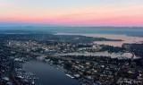 Pink Sky over Portage Bay, Ship Canal Bridge, University of Washington, Lake Washington