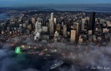 Start of Blue Hour, Downtown Seattle, Waterfront, Great Wheel Ferries, Lake Washington