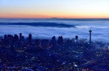 Blue Hour and Orange Sky over Seattle, Space Needle, West Seattle, Puget Sound