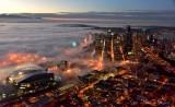 Centurylink Field, Seattle Seahawks, Downtown Seattle, Great Wheel, Space Needle, Sea of Fog
