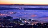 Centurylink Field, Seattle Seahawks, Safeco Field, Harbor Island Cranes, Downtown Seattle, Washington at Sunset