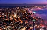 Color of Sunset on Seattle, Space Needle, Sea of Fog, Mount Rainier