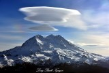 Mount Rainier with Standing Lenticular Clouds, National Park, Washington State